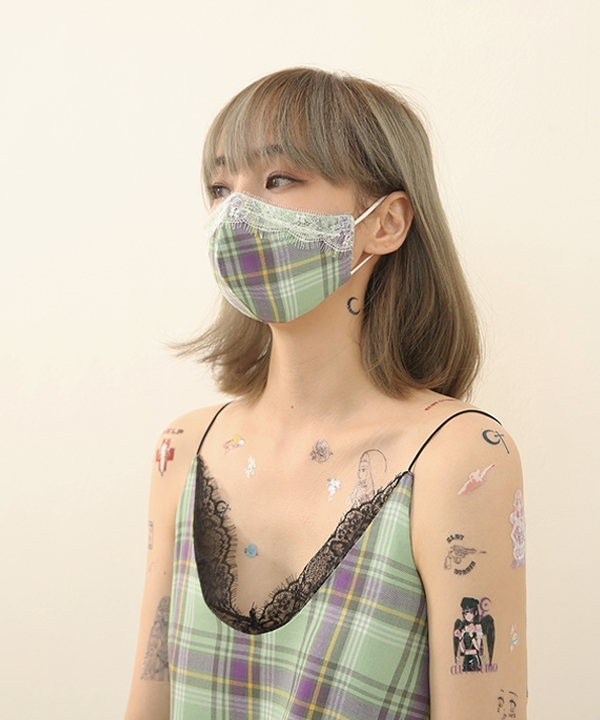 [CLUT STUDIO] check lace mask / チェックレースマスク
