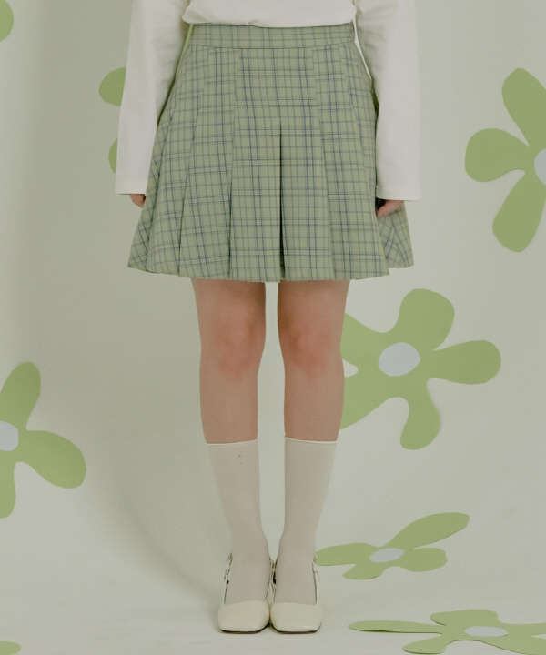[ZEROSTREET] チェックプリーツスカート [APPLE MINT] / CHECK PLEATS SKIRT [APPLE MINT]