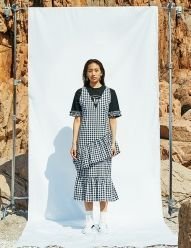 [NINEONETWO] Check Layered Dress