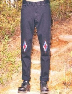 [FREIKNOCK] CHIMAYO APPLIQUE DENIM PANTS