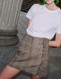 [CLUTSTUDIO] 0 5 glen check ruffle skirt