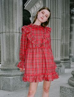 [CLUTSTUDIO] 0 6 tartan check ruffle dress
