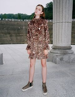 [CLUTSTUDIO] 0 6 leopard velvet ruffle dress