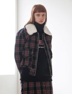 [TARGETTO] FUR COLLAR CHECK BLUSON CHECK