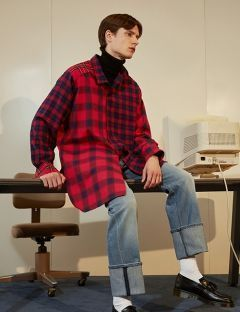 [TRUNK PROJECT] Check Assymetric Shirt