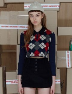 [ODDONEOUT] Argyle Knit Shirt