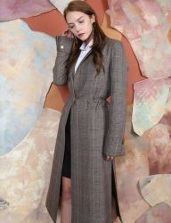 [S.Y.LEE] 17 A/W GLEN CHECK LONG COAT
