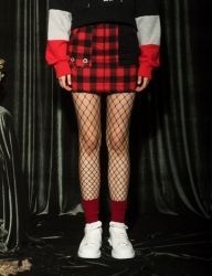 [AT THE MOMENT] Set Check Skirt [RED]