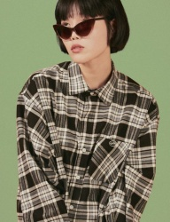 [A PIECE OF CAKE] Oval Logo Check Shirts
