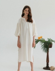 [nuissue] BELTED NATURAL DRESS