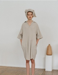 [nuissue] LINEN  SHIRT DRESS[BEIGE]