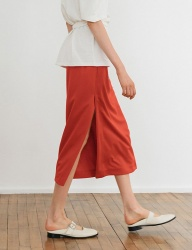 [nuissue] PK SLIT SKIRT[RED]