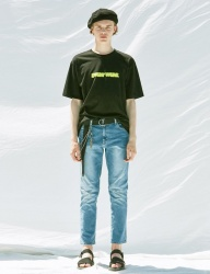[VOIEBIT] V243 INCISION SPAN DENIM PANTS