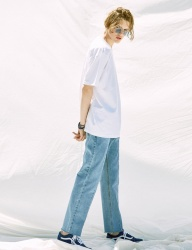 [VOIEBIT] V244 PANEL WIDE DENIM PANTS (LIGHT BLUE)