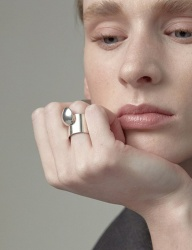 [090FACTORY] [Silver] Moving button Ring