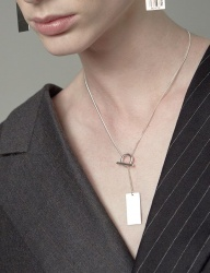 [090FACTORY] [Silver] Barcode tag Necklace