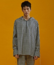 [SEWING BOUNDARIES] GINGHAM CHECK HOODIE SHIRT