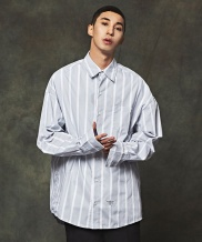 [MINIMALCODE] SLEEVE EMBROIDERY BOLD STRIPE OVERFIT SHIRTS