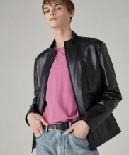 [SPERONE] Stand Collar Zip up Lambskin Leather Jacket