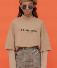 [DIM.E CRES.] BASIC LOGO LAYERED TURTLE NECK TOP