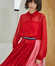 [Sorry, Too Much Love] Color Play Pleats Skirt