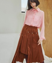 [Sorry, Too Much Love] Layered Button Pleats Skirt