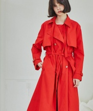 [Sorry, Too Much Love] Red Classic Trench Coat