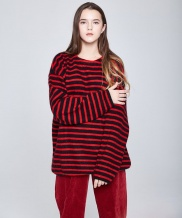 [INDIGO CHILDREN] OVERSIZED STRIPE ANGORA KNIT