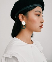 [MIDNIGHT MOMENT] texture round earclips