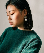 [MIDNIGHT MOMENT] texture pearl earclips