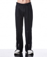 [MANODDIOS] M.N.D Side Belted Wide Pants Black