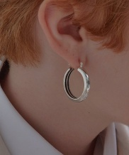[090FACTORY] [Silver] Hidden lines circle Earring