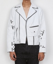 [DOZOH] WHITE MF LAMBS-LEATHER RIDER JACKET