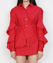 [DOZOH] RED RUFFLE BLOUSE
