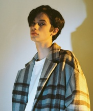 [A NOTHING] OVERSIZE WOOL CHECK ROBE COAT
