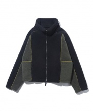 [ORDINARY PEOPLE] cutting detail&color mixed fleece jacket