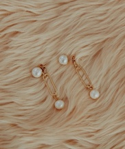 [bpb] Double Fresh Water Pearl Drop Earring