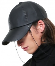 [S SY] 2WAY BLACK EDITION LEATHER CHAIN CAP