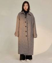 [WUZU STUDIO] WUZU OVER LONG SINGLE COAT [HOUND TOOTH CHECK]