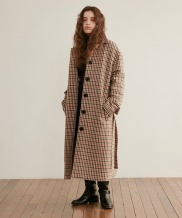 [WUZU STUDIO] WUZU OVER LONG SINGLE COAT [CHECK] (W)