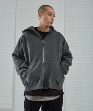 [ATTENTIONROW] A-10-ROW* oversize pigment heavy hood zipup