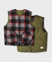 [S SY] BLOCK WOOL CHECK REVERSIBLE PADDING VEST