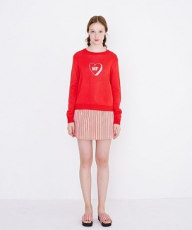 [margarin fingers] MF VALENTINE DAY SET(heart knit & triple heart skirt)