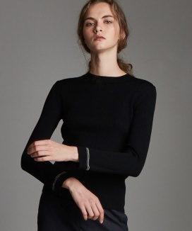[True Ouahsommet] ROUND-NECK SLIM WOOL KNIT