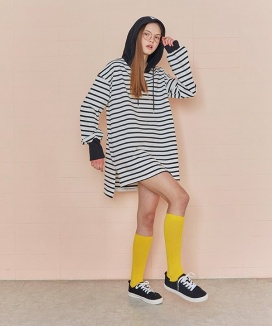 [RSVP] STRIPE LONG HOODIE TOP