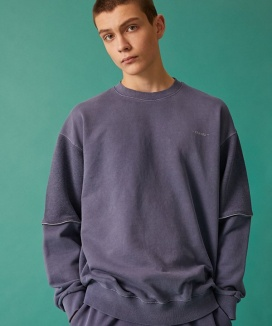 [TRAVEL] REFLECTIVE PIPING PIGMENT SWEATSHIRT