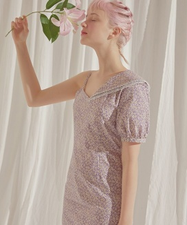 [margarin fingers] asymmetry lace one-piece