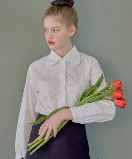 [margarin fingers] floral lace collar shirt