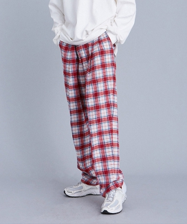 [VOIEBIT] V262 TWO TUCK CHECK WIDE PANTS