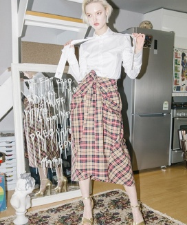 [CLUTSTUDIO] check tied full skirt [check]